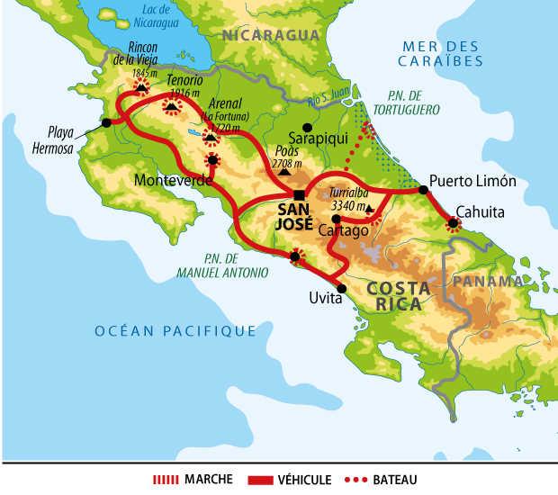 itinéraire d'un voyage au Costa Rica