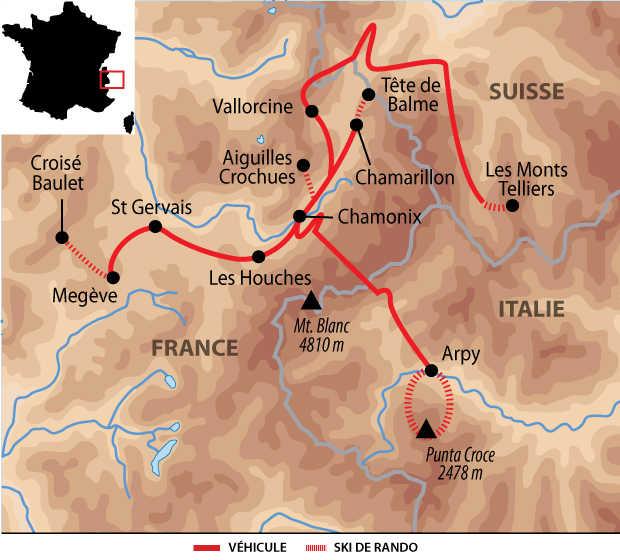 Itinéraire en ski de rando sur Chamonix