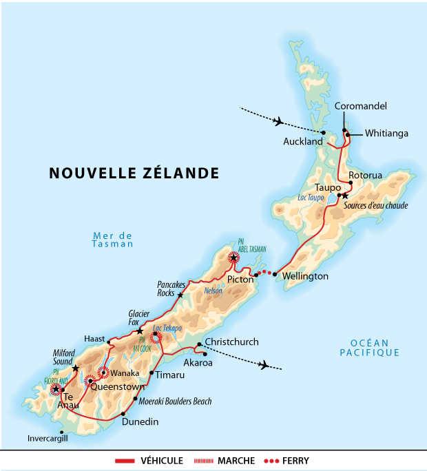 Itinéraire en terres Maori