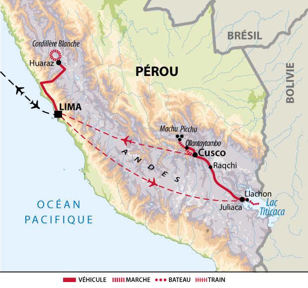 Itinéraire entre Cordillère Blanche, Machu Picchu et lac Titicaca