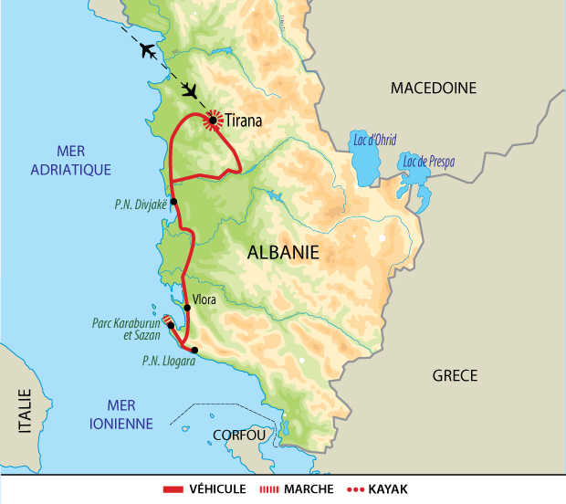 Itinéraire entre mer Adriatique et mer Ionienne