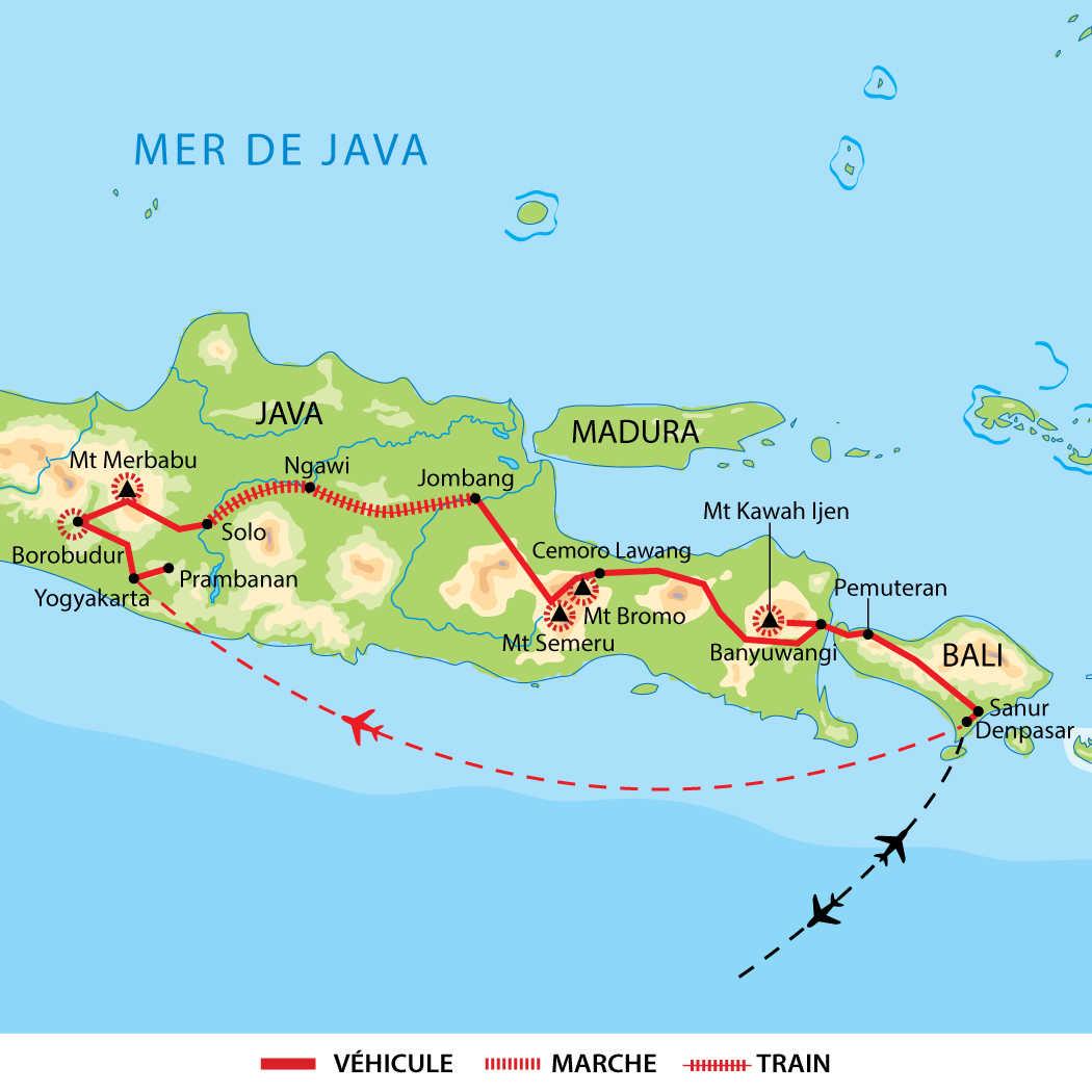 Itinéraires des randonnées volcaniques à Java