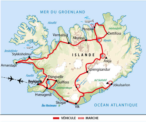 Itinéraires sur les routes des hautes terres islandaises
