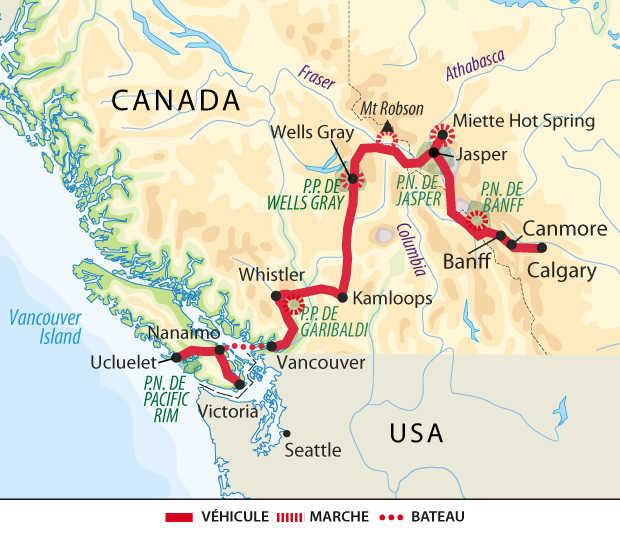 Carte : voyage au Canada
