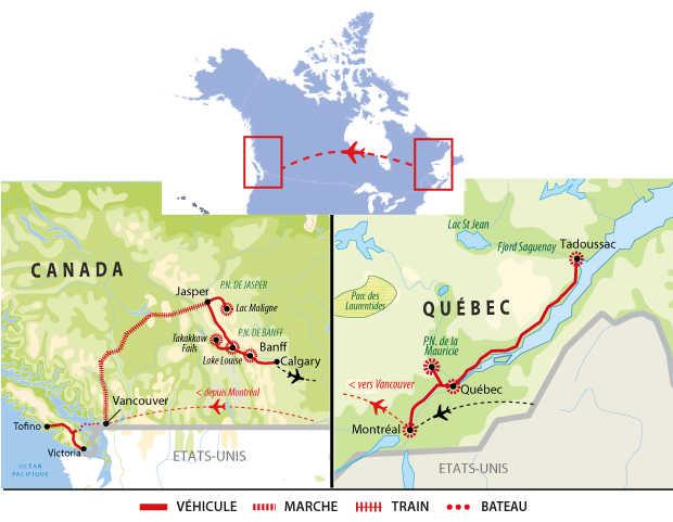 Voyage au Canada Est et Ouest