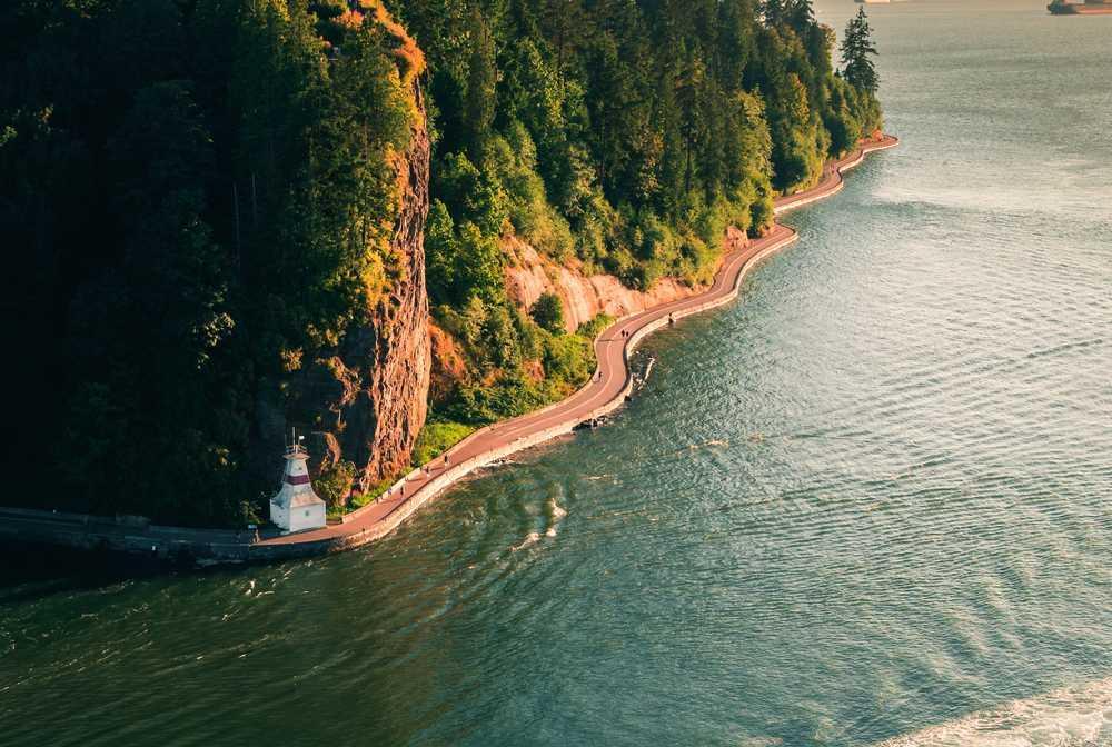 Stanley Park à Vancouver, vue depuis le Lions Gate Bridge