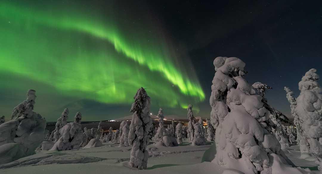 Aurores boréales dans la taiga de Laponie
