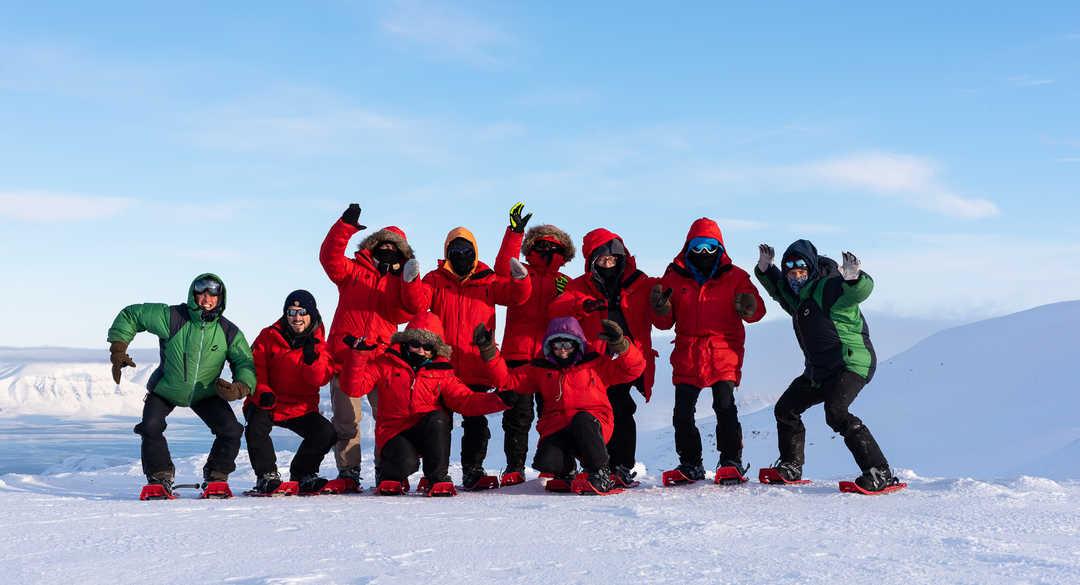 Photo de groupe au Spitzberg l'hiver