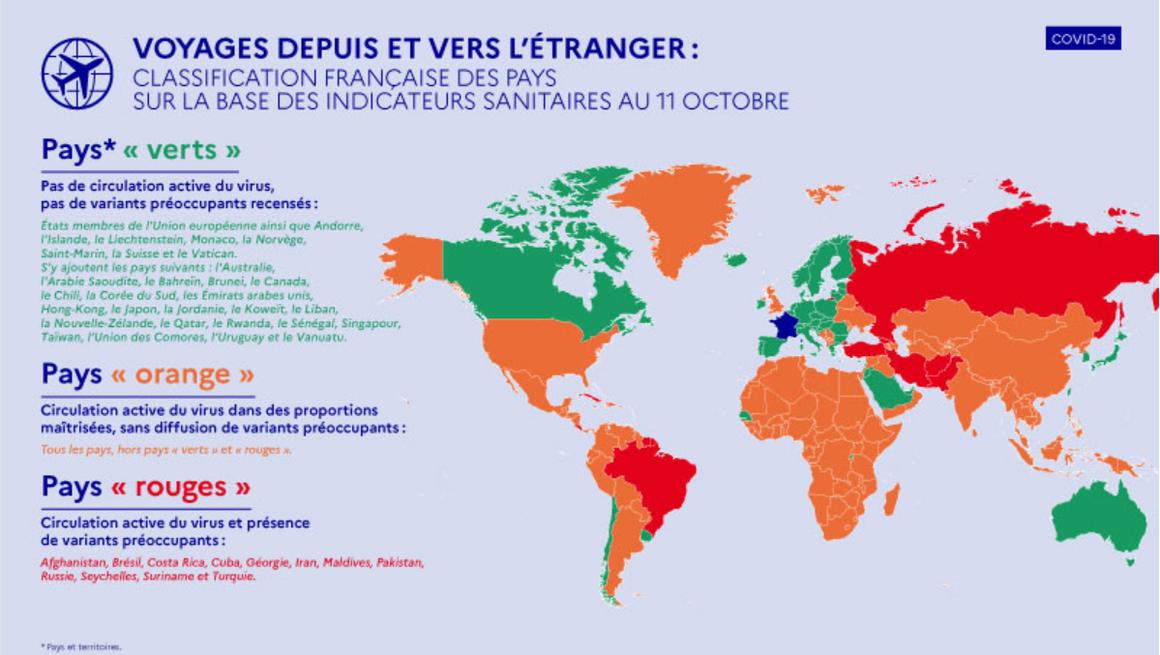 Carte du monde des pays classé vert, orange et rouge par la France concernant la pandémie de Covid 19