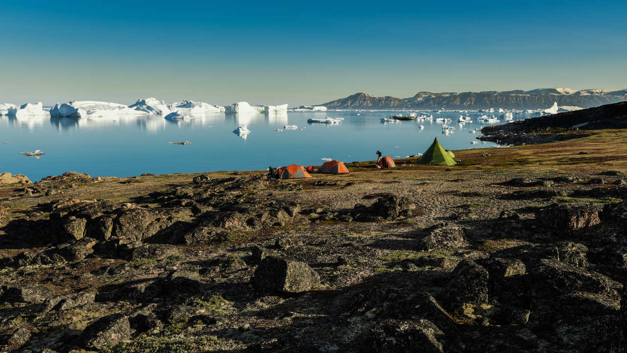 Camp au pied des icebergs, Groenland