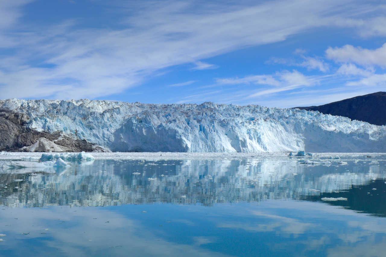 Front du glacier Eqi au Groenland