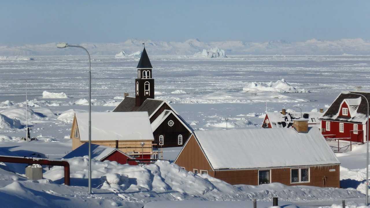 Ilulissat sous la neige au Groenland