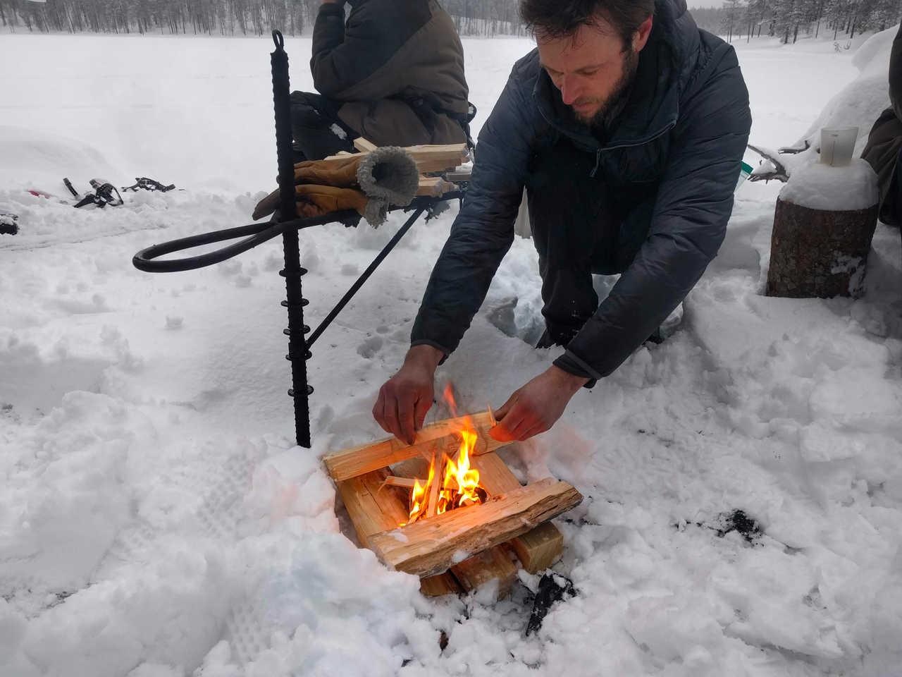 Journée trappeur, feu de bois