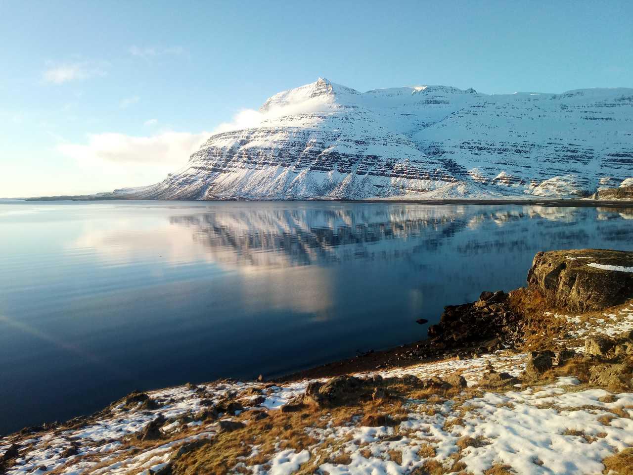 Montagne enneigée d'Islande