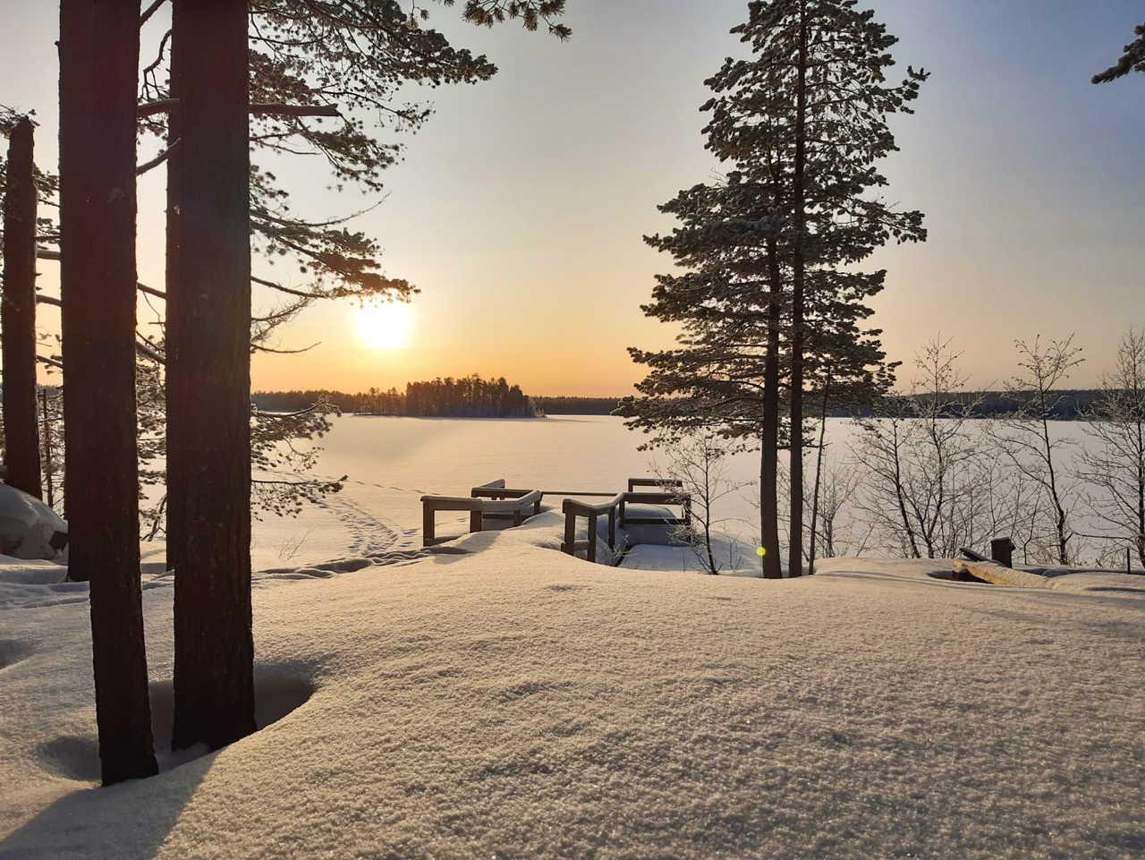 Paysage enneigée de Laponie finlandaise