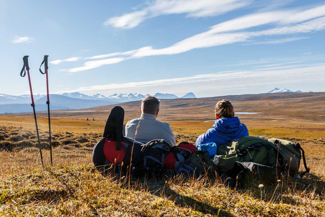 Pause en randonnée sur la Kungsleden dans le Nord de la Suède