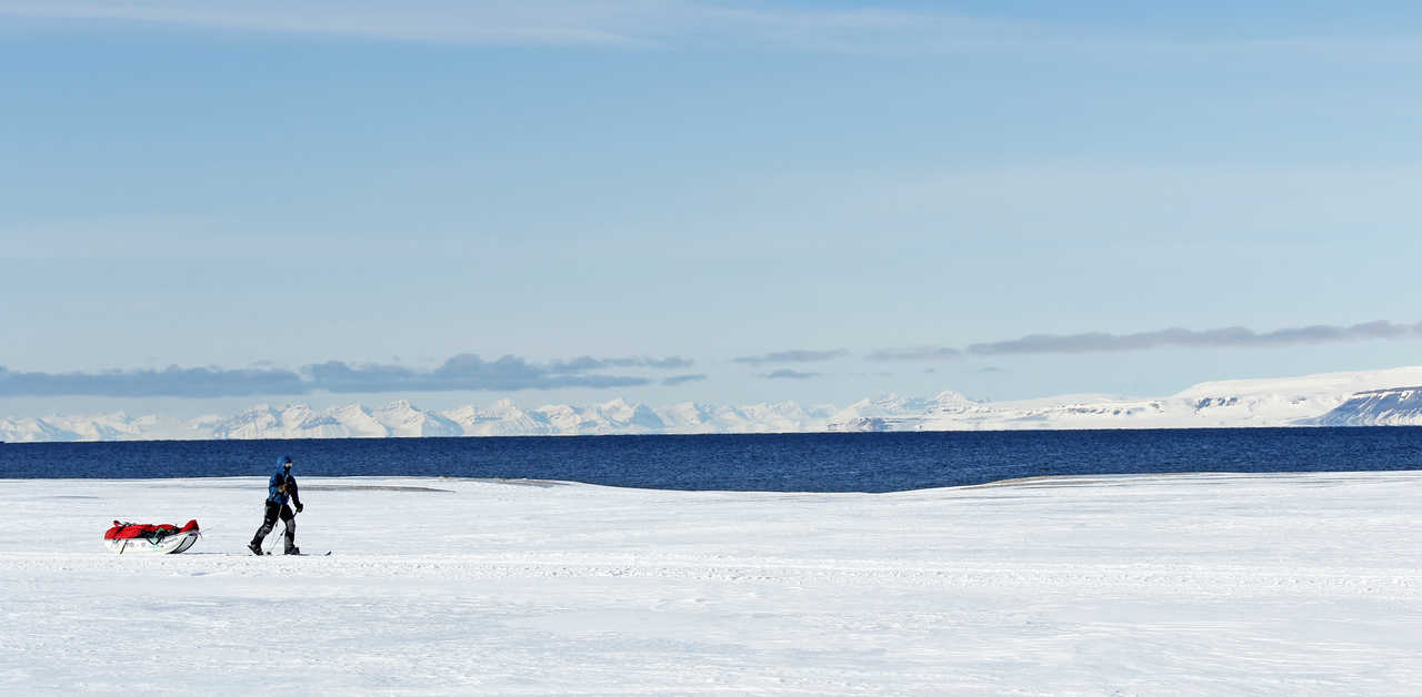 Photo d'un skieur au Svalbard