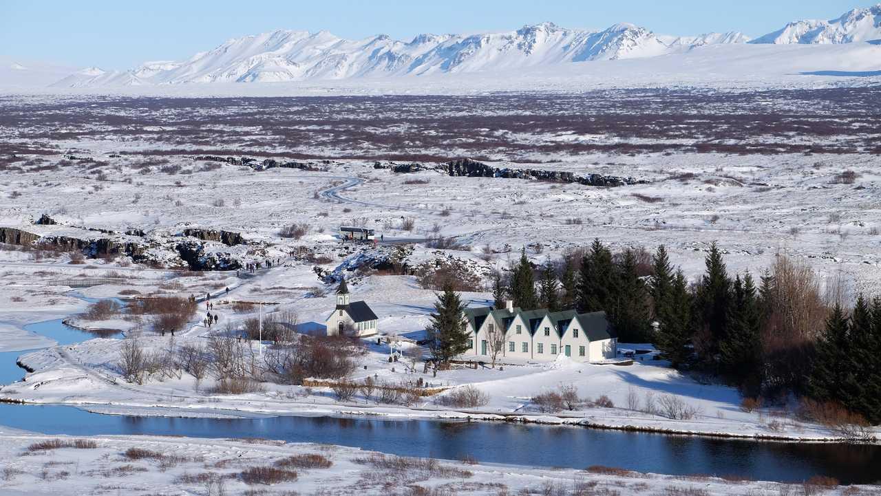 Ville en hiver en Islande