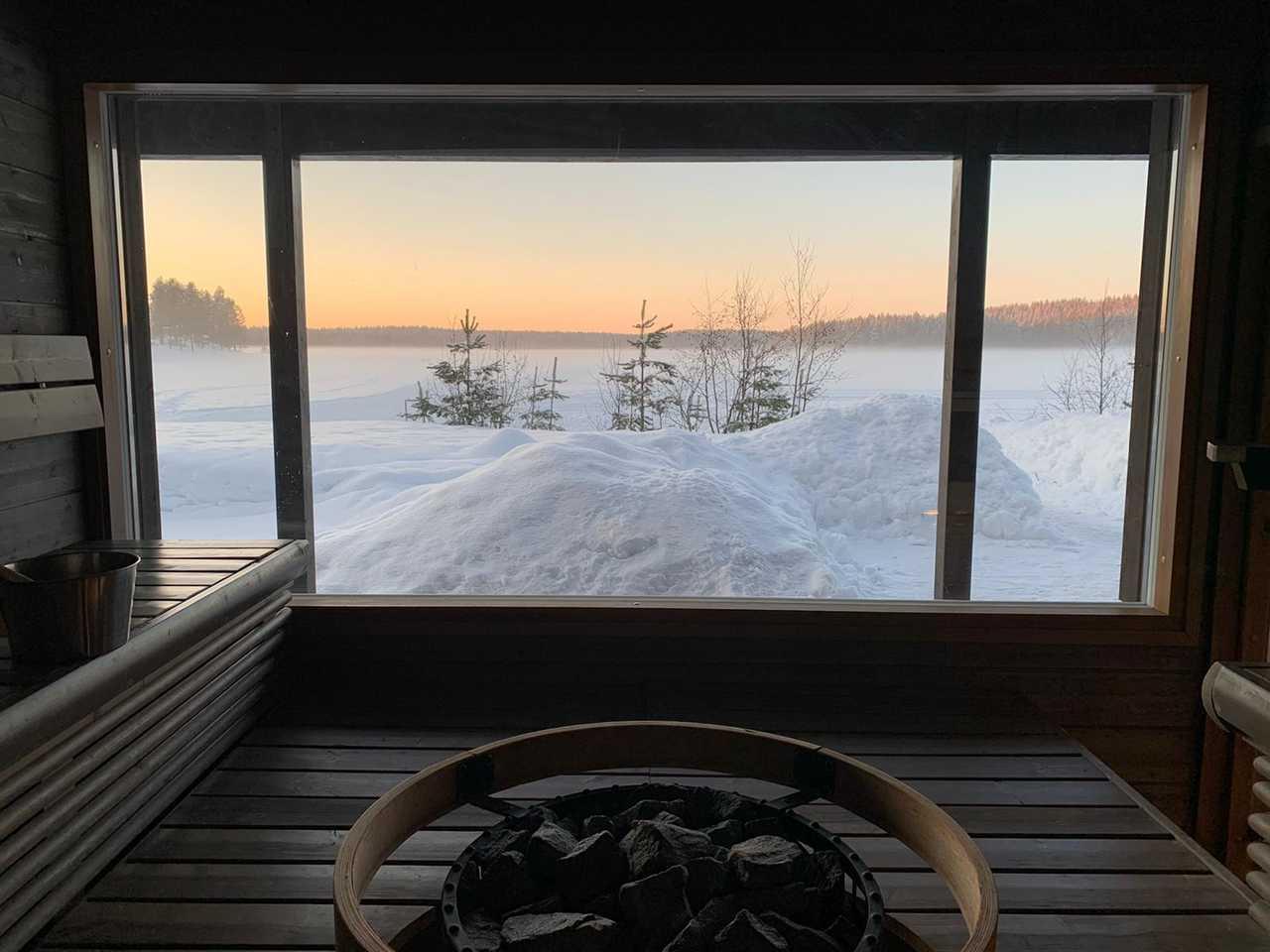 Sauna en Finlande l'hiver, Laponie