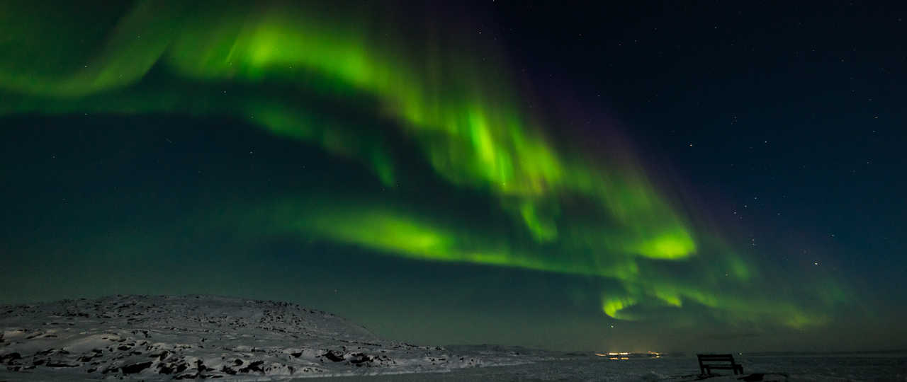 Aurores boréales au Groenland l'hiver