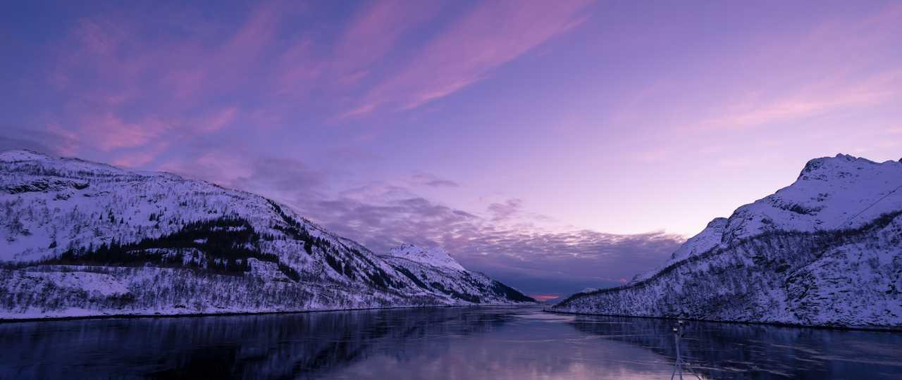 Coucher de soleil hivernal en Norvège
