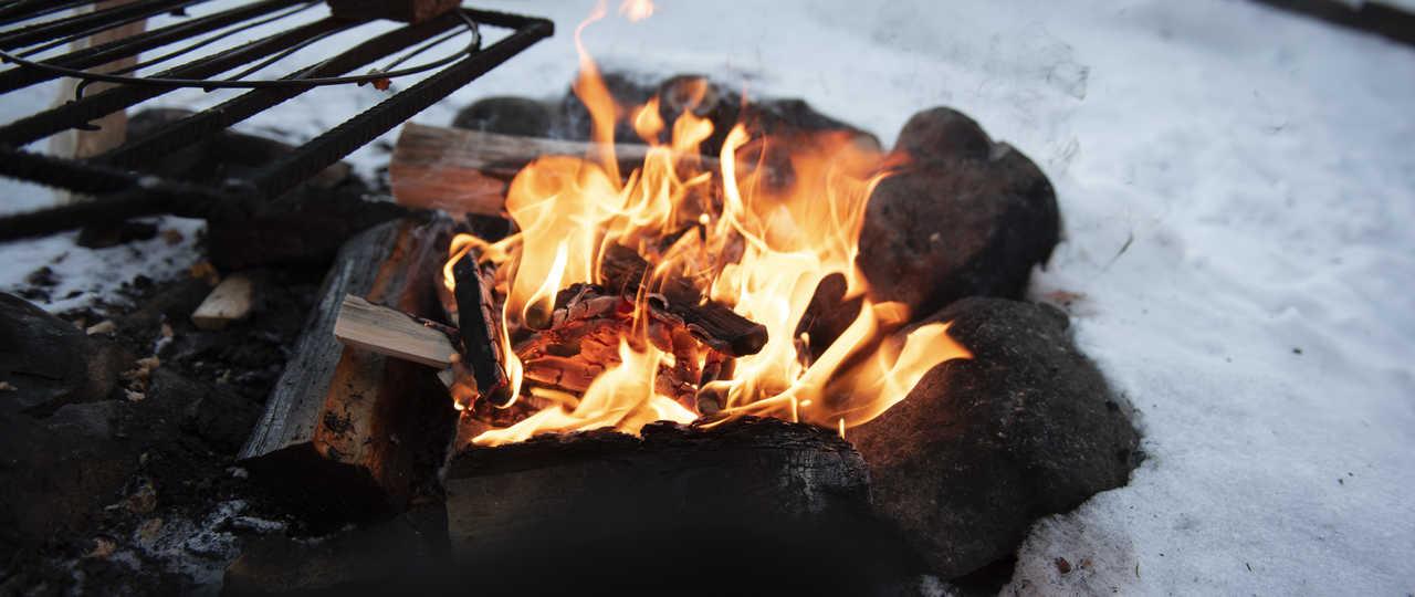 Feu de bois, pique-nique dans la nature de Finlande