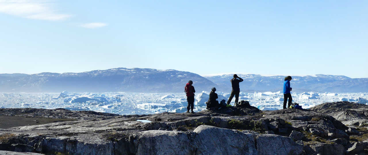 Instant photo des icebergs dans la baie de Disko, Groenland