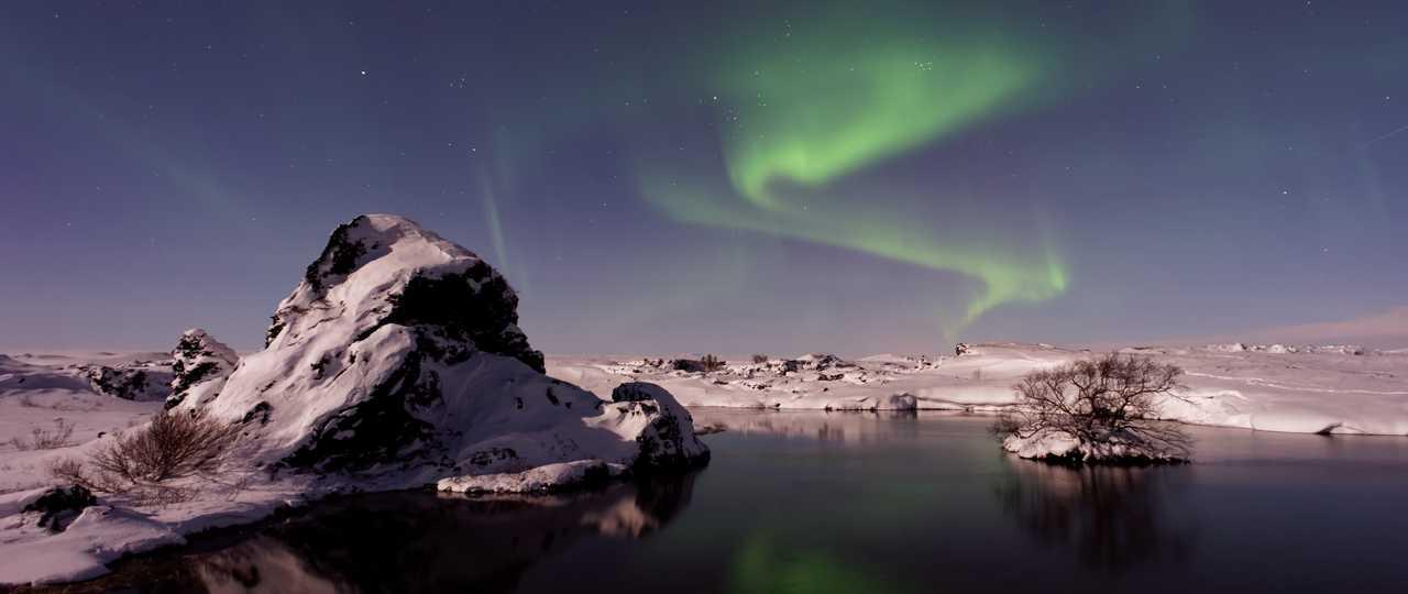 Observation aurores boréales en Islande