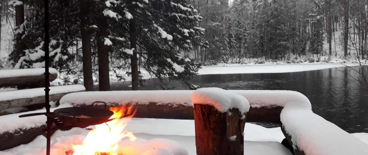 Pique-nique dans la nature hivernale de Finlande
