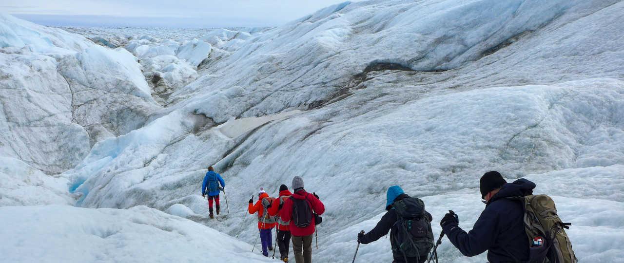 Randonnée sur le glacier au Groenland