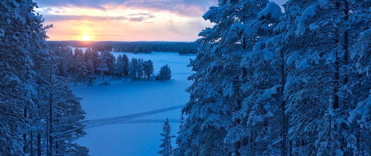 Taiga sous la neige de Finlande, Laponie