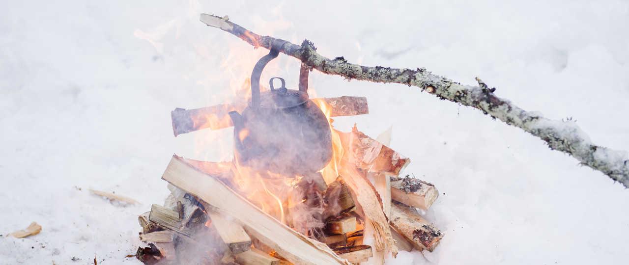 Thé dans laneige en Finlande