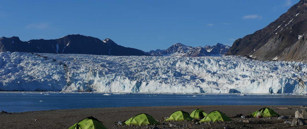 Voyage aventure, camp glacier Spitzberg