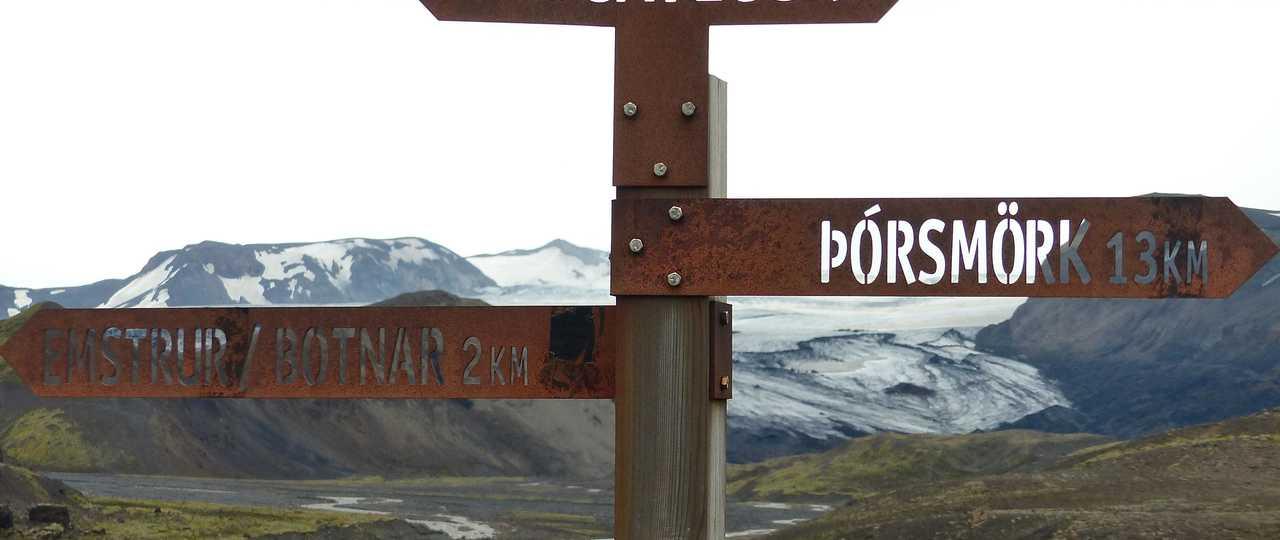 Photo du panneau Laugavegur, voyage Islande