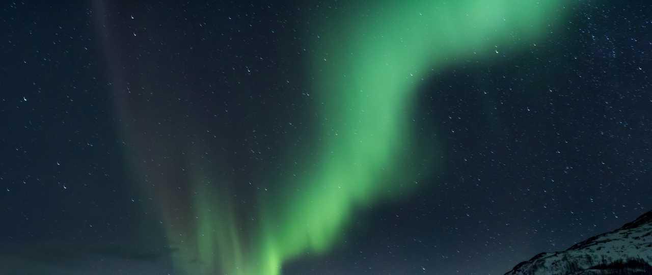 aurore boréale lors d'un voyage en Norvège