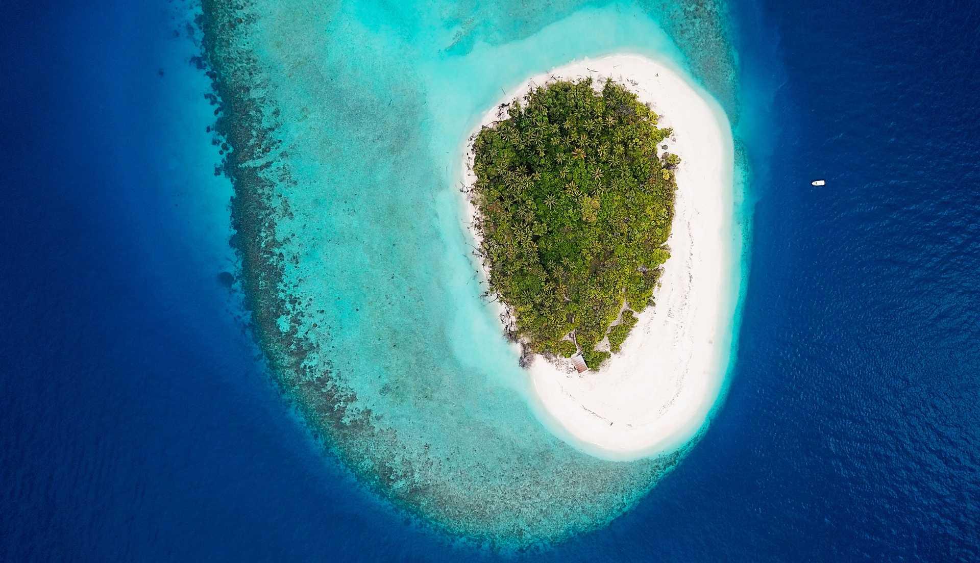 Atoll Baa inhabité aux Maldives