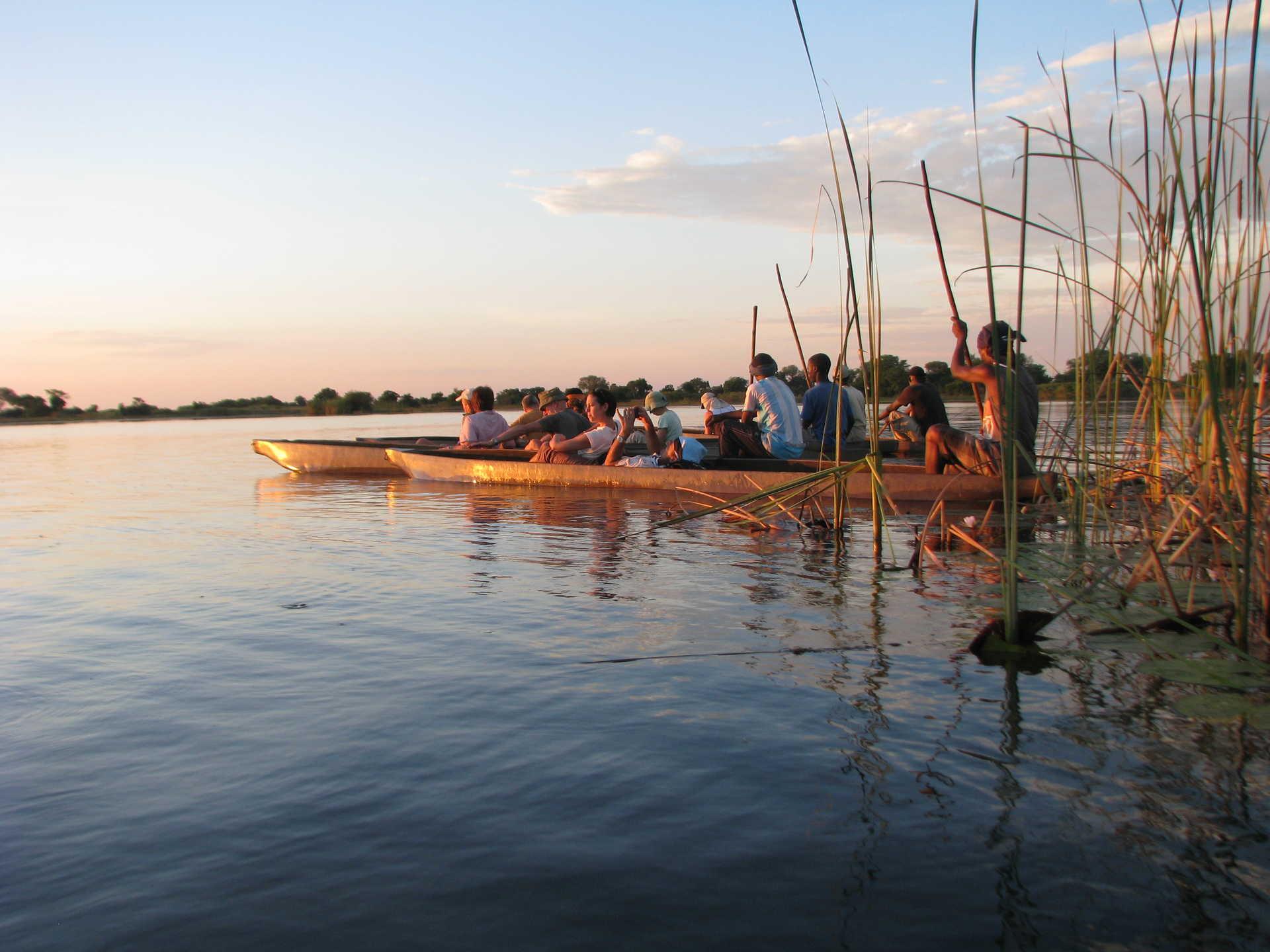 Balade en pirogue traditionnelle au Botswana