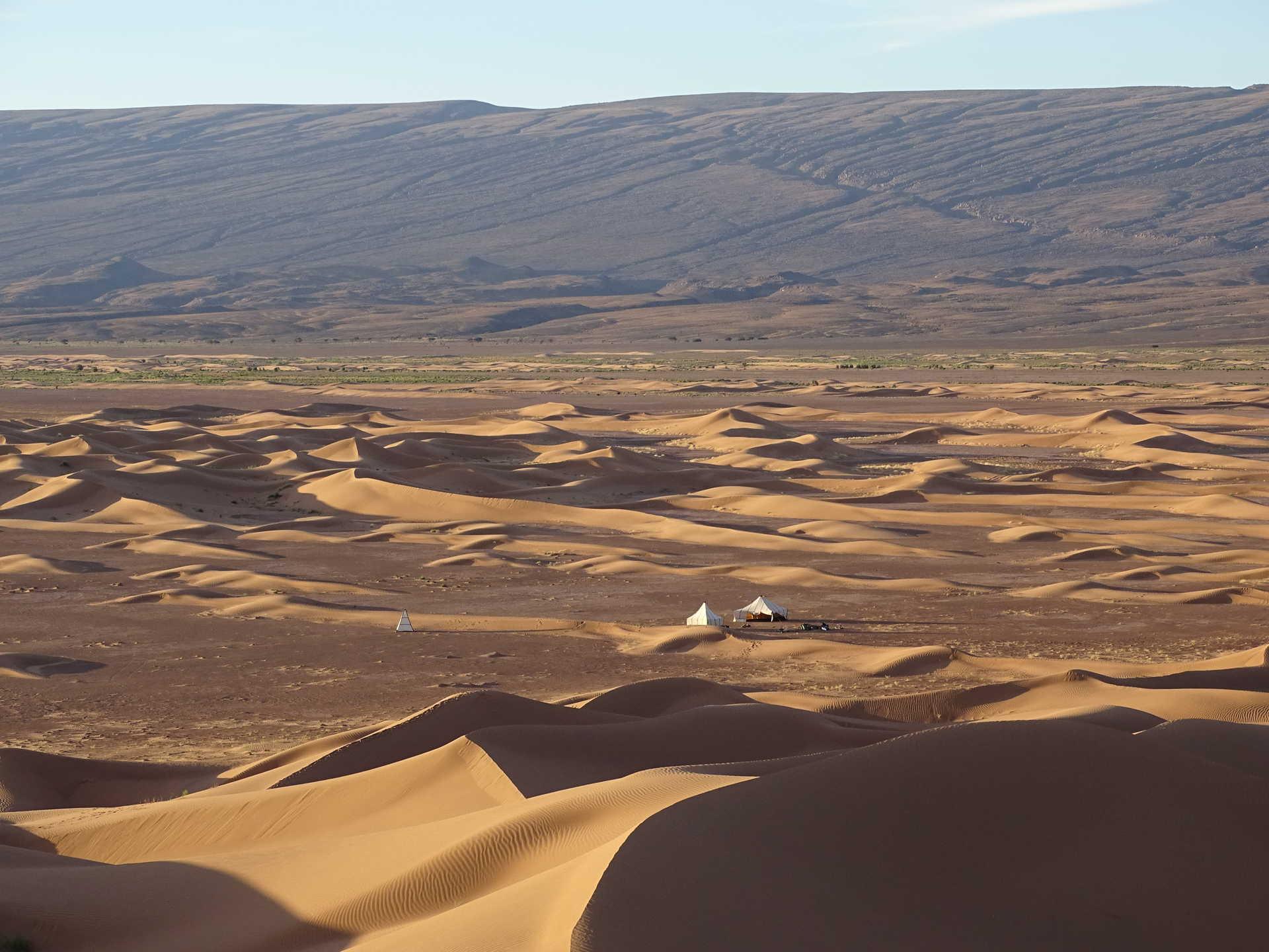 Bivouac dans les dunes, Drâa, Maroc