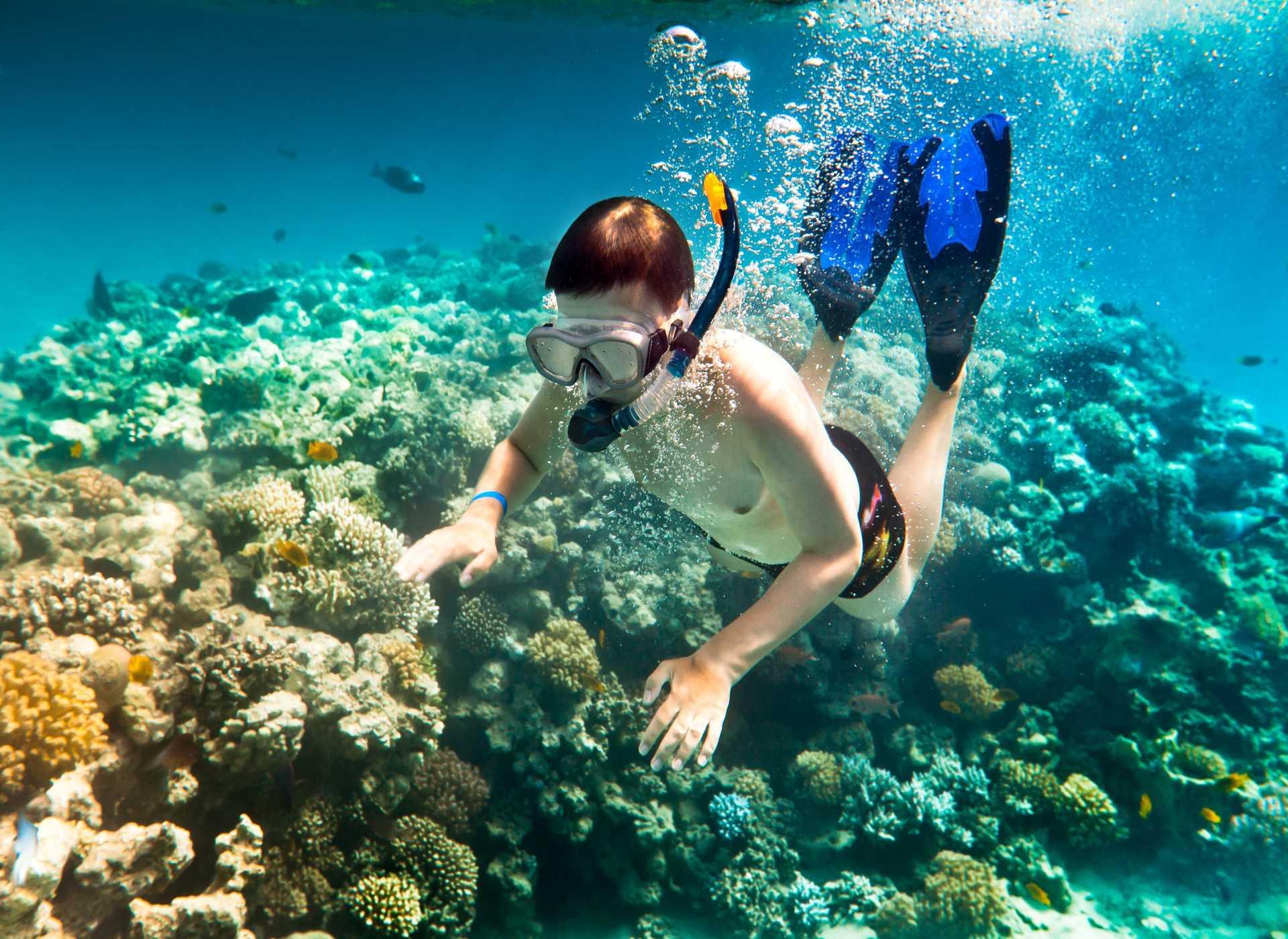 Enfant plongeant en apnée avec masque et tuba