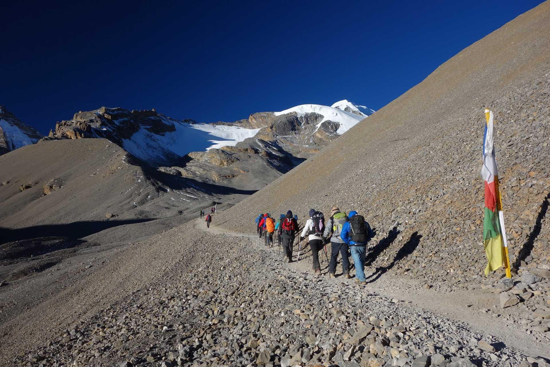 Le col du Thorong La, dans les Annapurnas