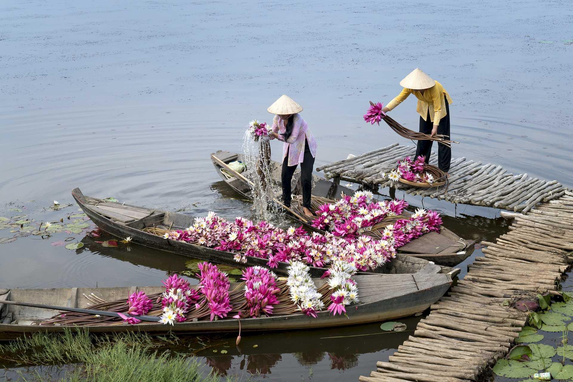 Marchand de fleurs sur un bateau
