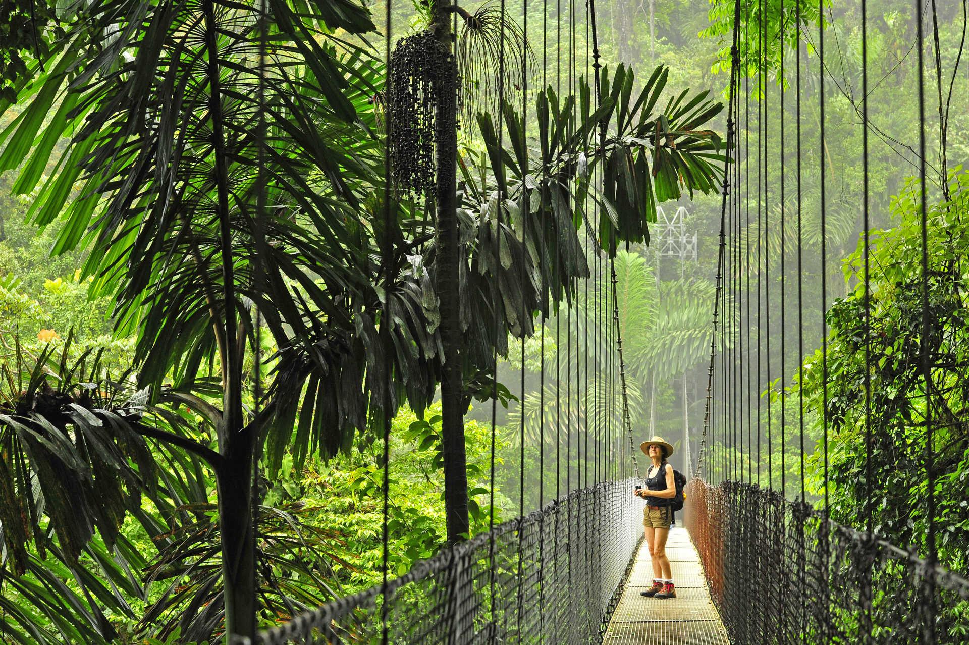 Photo d'un pont suspendu au pied du volcan Arenal au Costa Rica