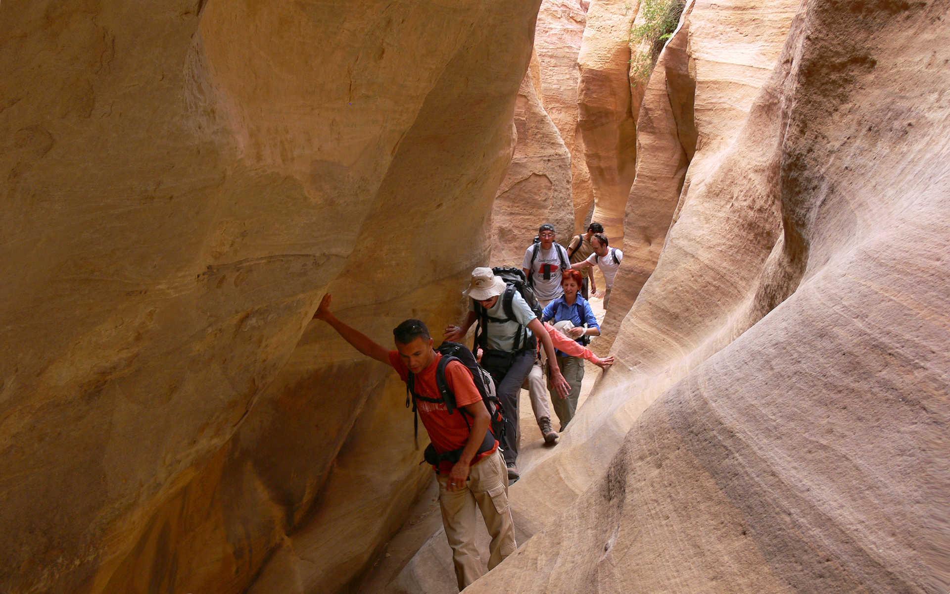 Randonnée dans un canyon de Jordanie