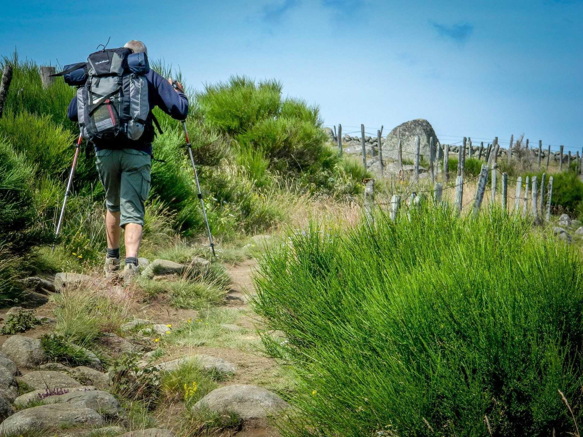 Randonneur du Chemin de Compostelle dans la région de l'Aubrac