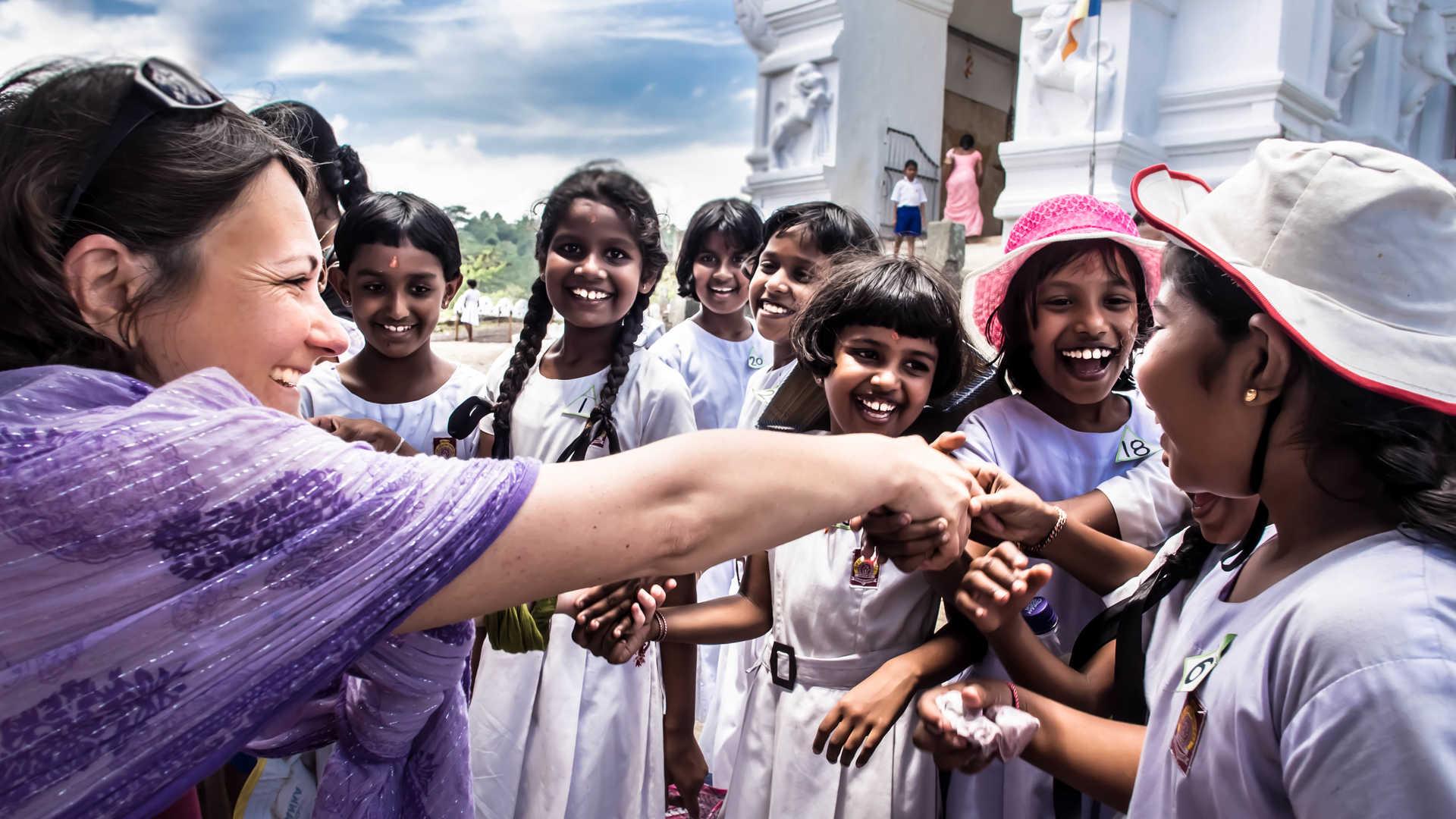 Sri Lanka, temple, enfants