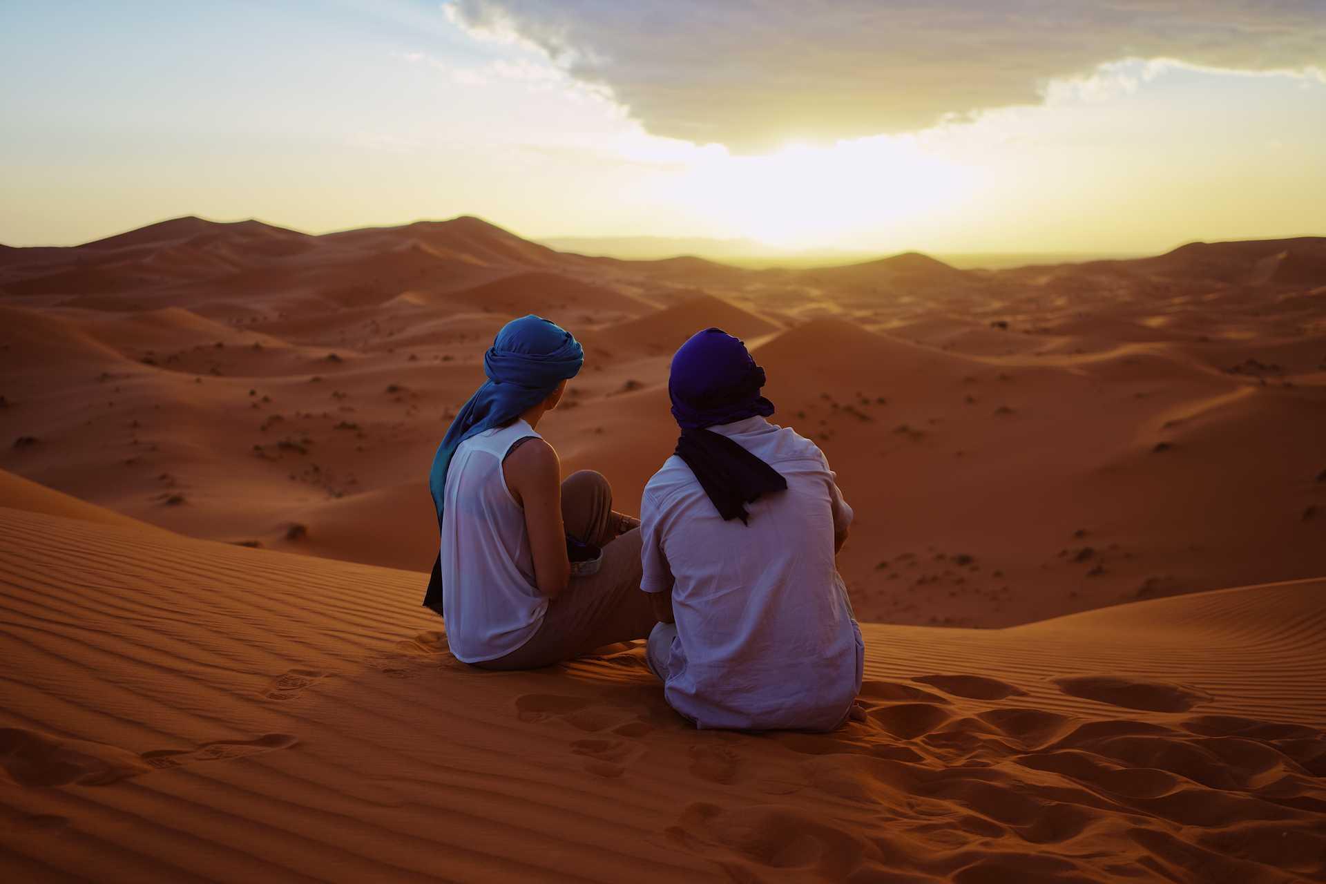 Soleil couchant dans les dunes, Maroc