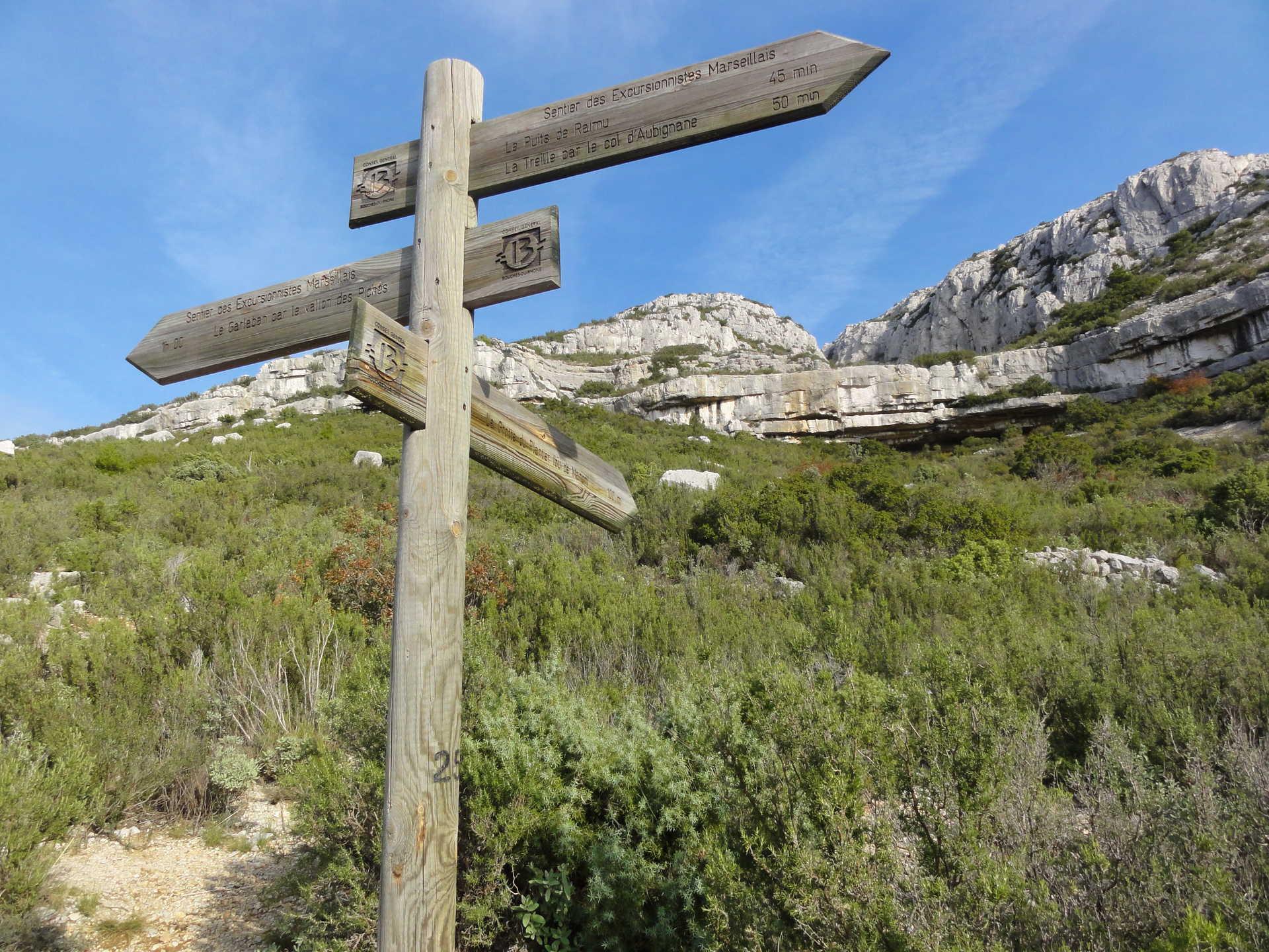 Panneau d'indication sur le sentier des excursionnistes marseillais