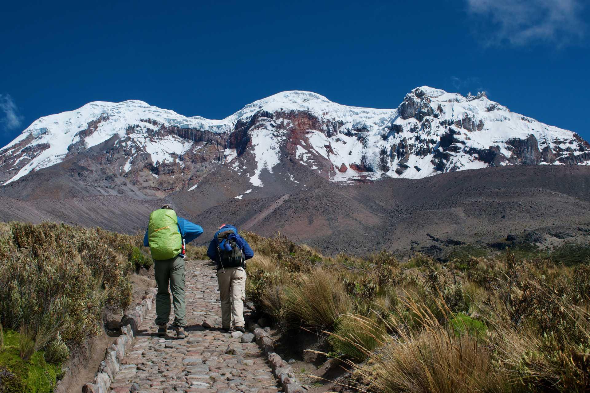 Randonneurs faisant le tour du volcan Chimborazo