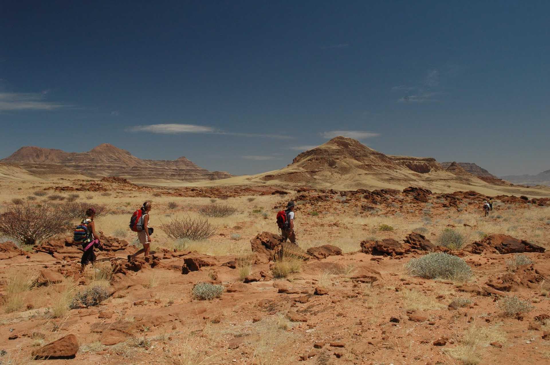 Trek dans les paysages désertique du Damaraland en Namibie