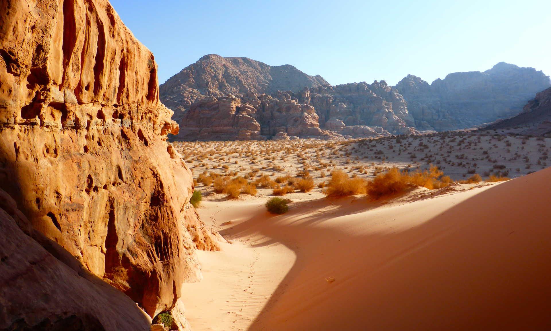 Vallée Arc en Ciel, désert de Régana, Jordanie
